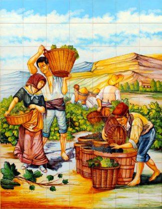 La vendimia, mosaico de azulejos